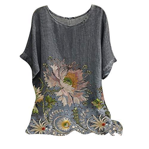 FOTBIMK Camisetas para mujer Vintage mezcla de algodón O-cuello manga corta estampado floral Top camisetas blusa