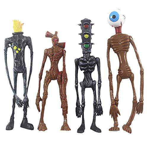 4 Piezas Cabeza de Sirena Figura de accin de Dibujos Animados Animal Horror Modelo mueca Juguetes Conjunto con luz para nios Regalo de cumpleaos