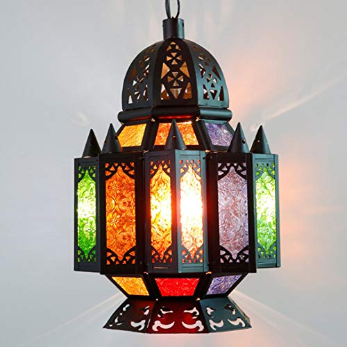LILIS Chandelier Thai Moroccan style chandelier bar counter stained glass bohemian art lamps (Color : Blue)