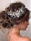 Vakkery - Diadema para el pelo de boda con diseño de hojas y flores, color plateado
