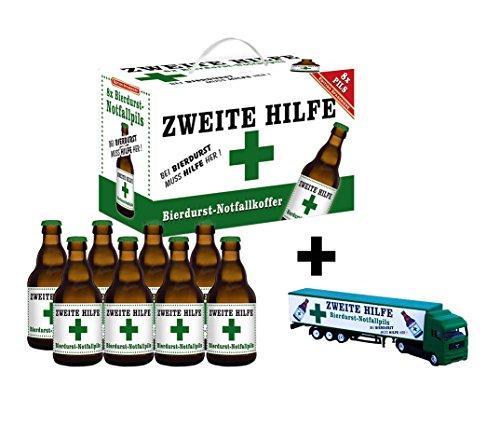 Zweite Hilfe Bierdurst Notfall Koffer im 8er Geschenkkarton (8 x 0.33 l) mit Truck