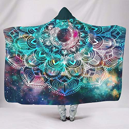 Vrnceit Psychedelic Galaxy Mandala Gezellige Heldere kleuren Hoodie Draagbare Super Zachte Gooi Deken Laat mensen goed slapen voor Bed in Winter Sunshine stijl