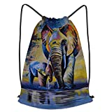 Unisex Yoga Cinch Sack Drawstring Bags Oil Painting Elephants Colorful Artwork African Family Baby Animal Abstract Vintage Waterproof Backpack Sports Gym Bag Casual Daypack