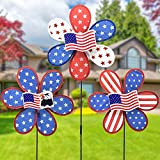 FENELY Flag Garden Pinwheels Wind Spinner Whirligigs Kids Toys for Yard Decor Windmill Lawn Outdoor Decorations American Flag Decorative Garden Stakes Whimsical Baby Gifts Bird Deterrent