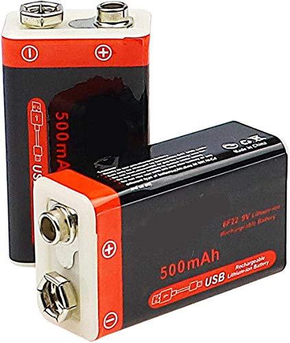 500mah USB Li Ion Batería Recargable 9v Baterías de Litio para Control Remoto de micrófono Ktv-2 Piezas 500 MAH