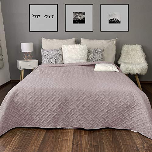 HOMELEVEL Colcha para cama y sofá, diseño trenzado, tamaño XXL, 200 x 220 cm, color rosa