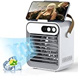 Portable Air Conditioner,Personal Mini Small Evaporative AirConditioner Fan,Rechargeable USB Evaporative Air Cooler with Handle/Mobile Phone Bracket / Beauty Mirror,Humidifier Misting Fan,3 Speeds & 3 Spray Modes,Desktop Quiet Swamp Cooler Humidifier for Room/Office/Camping