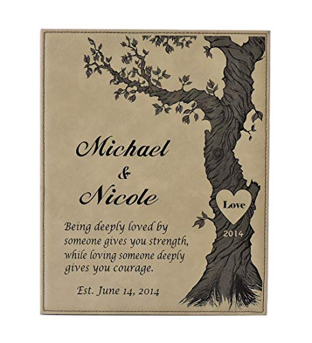 Forever Me Gifts Anniversary Plaque Leather Gift Personalized with Names and Est Date