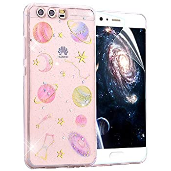 OKZone Case Compatible with Huawei P10 Plus [with HD Screen Protector] [Star Sky Series] Bling Glitter Sparkle Star Design Slim Fit Soft Gel TPU Silicone Skin Cover Protective Case - Transparent