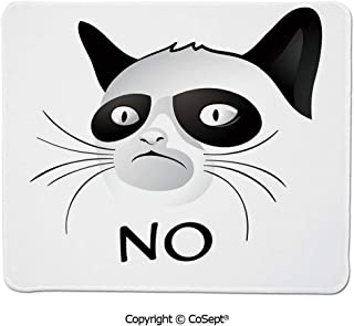 Ergonomic Mouse pad,Cat Face Portrait Says No Grumpy Social Character Kitty Domestic Artful Image,Non-Slip Water-Resistant Rubber Base Cloth Computer Mouse Mat (7.87