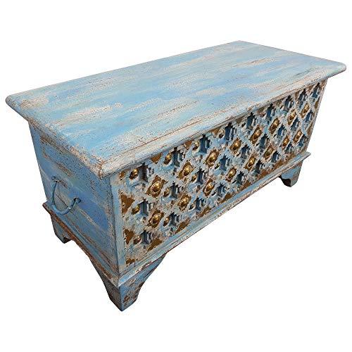 Indoortrend.com Truhe Kiste Holztruhe 90 Box Vintage Blau Shabby Chic aus Handarbeit Unikat - 2