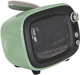 GLJJQMY TV Retro Bluetooth Speaker Wireless Mini Portable Bass Alarm Clock, 90X70X75mm (Color : Green)