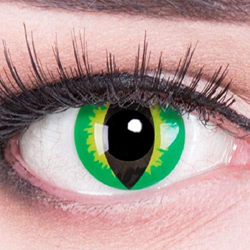Farbige grüne Schlangenaugen Kontaktlinsen mit Stärke -5,50 crazy Kontaktlinsen crazy contact lenses Anaconda Schlangen grün 1 Paar. Mit Linsenbehälter!perfekt zu Halloween