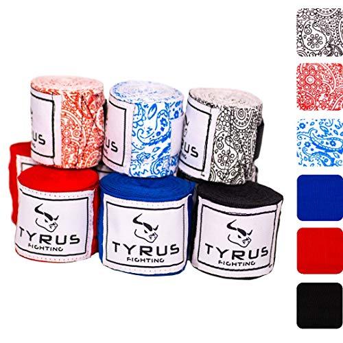 TYRUS Fighting Boxbandagen für Kampfsport | Elastische Hand Bandagen für Boxen, MMA, Kickboxen, Muai Thai [4m Bandagen mit Daumenschlaufe] (Paisley Rot)