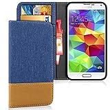 United Case Cascara Ranura Tarjeta para Samsung Galaxy S5 Mini | Azul | Cuero Ligero y