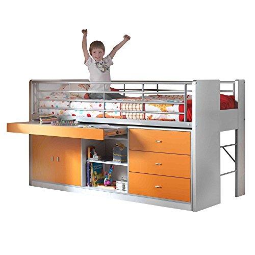 VIPACK hochbett Bonny M. scrivania estraibile Piastra Bianco/Arancione