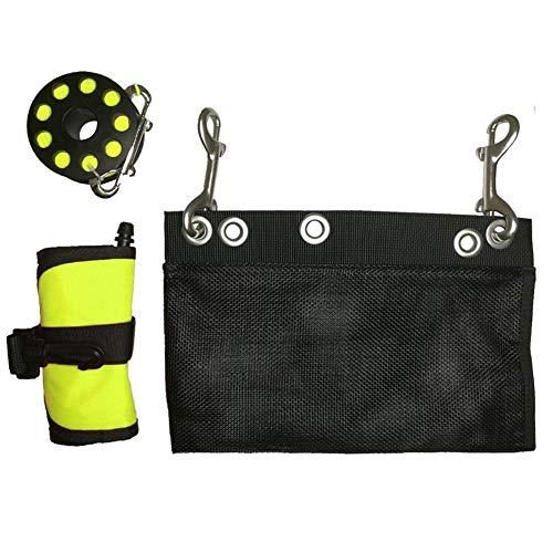 FEIFUSHIDIAN Keeper Sangle Plongée sous-Marine Snorkeling Surface Finger Marker Buoy plongée Spool Reel sécurité Kit Vitesse Set (Color : Yellow Set)