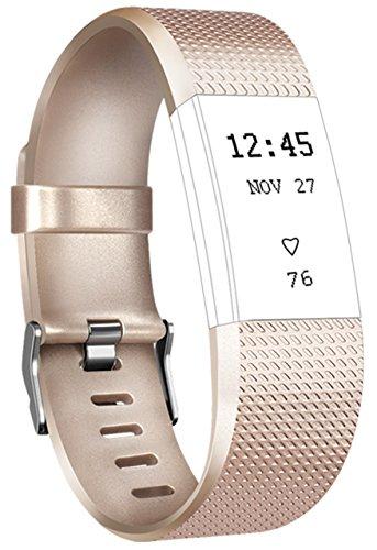 Para Fitbit Charge 2 Correa, Vancle Edición Especial Deportes Recambio de Pulseras Ajustable Accesorios para Fitbit Charge 2 Pequeño y Grande(Sin dispositivo localizador) (Gold, Grande)