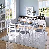 YINKUU <span class='highlight'>Dining</span> <span class='highlight'>Table</span> <span class='highlight'>and</span> Chairs <span class='highlight'>Set</span> of 6 Solid Pine Kitchen <span class='highlight'>Table</span> <span class='highlight'>and</span> Chairs <span class='highlight'>Set</span> (Grey white,1 <span class='highlight'>table</span> 6 chairs)