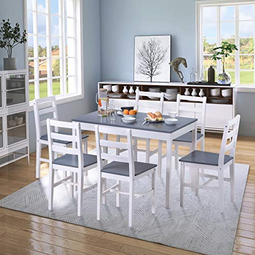 YINKUU Dining Table and Chairs Set of 6 Solid Pine Kitchen Table and Chairs Set (Grey+white,1 table+6 chairs)