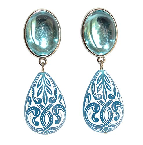 Sehr leichte große Ohrstecker Ohrringe silber-farben Stein hell-blau Anhänger blau-weiß tropfen-förmig Ornamente Statement Fest Designer JUSTWIN