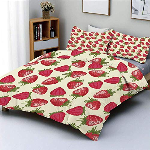 Totun Duvet Cover Set,Strawberries Vivid Growth Plant Vitamin Organic Diet Refreshing Image DecorativeDecorative 3 Piece Bedding Set with 2 Pillow Sham,Eggshell Red Olive Green,Best Easy Care Anti
