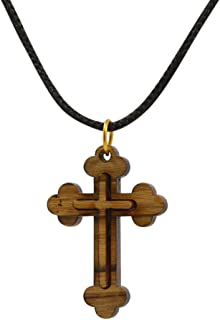 Certified Bethlehem Wooden Budded Cross Pendant on String Necklace in Natural Cotton Pouch - Men & Women