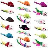 YUESEN Juguetes para Gatos Fur Mice Cat Toy Peludo Ratones sonajero pequeño Ratón Gato Gatito Interactivo, Colores Variados 20 Piezas