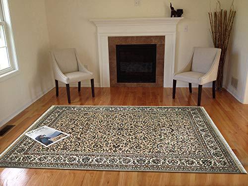 TrendyLiving4U tapijt woonkamer laagpolig Kashan Klasisch handwerk 172x242CM zand-crèmewit