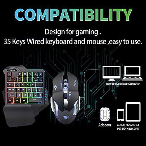 7KEYS One Handed Keyboard and Mouse Gaming Combo for PC/Laptop/Switch/PS4,35keys Wired RGB Backlit Gaming Mini Keypad Set Portable for Xbox ONE