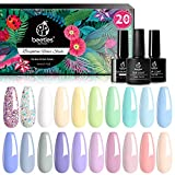 Beetles 23 Pcs Gel Nail Polish Kit, with Glossy & Matte Top Coat and Base Coat - Pastel Paradise Girly Colors Collection, Popular Bright Nail Art Solid Sparkle Glitters Colors Mother's Day Gift
