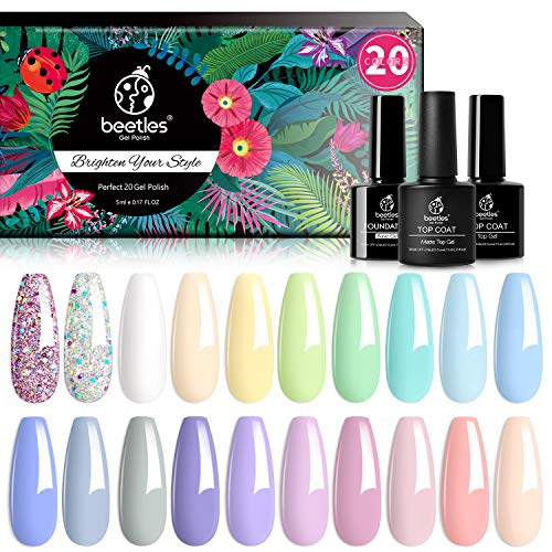 Beetles 23 Pcs Gel Nail Polish Kit, with Glossy & Matte Top Coat and Base Coat - Easter Eggs Pastel Paradise Girly Colors Collection, Popular Bright Nail Art Solid Sparkle Glitters Colors DIY Home Manicure