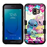 for Galaxy J2 Core/Dash/Pure, Hard+Rubber Hybrid Impact Rugged Cover Case - Stitch Angel Scrump #Z