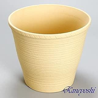 鉢 三河焼 KANEYOSHI 【日本製/安心の国産品質】 陶器 植木鉢 さざ波 白焼 穴有 9号 28cm