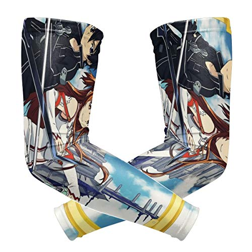 NanZYang Sword Art Online Sun UV Protection Arm Guard Sleeves Men Women Kids Summer Cooling Or Warmer Sunscreen Protective Gloves Sunblock Long Tattoo Cover for Motion Football,(2 Sleeves)