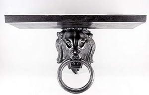 Casa-Padrino estantería de Pared de Aluminio de diseño Cabeza de león Plata Antigua 59 x 20 x H. 27 cm - Consola de Pared