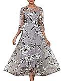 Boan - Abito da donna elegante, con motivo floreale, in raso e organza, con stampa floreale, per serate, feste, vita quotidiana, taglia grande grigio 46