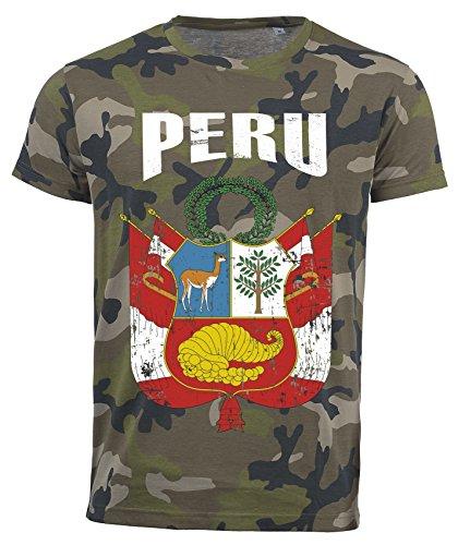 Camiseta Peru Camouflage Army Mundial 2018, Vintage Destroy Escudo D01