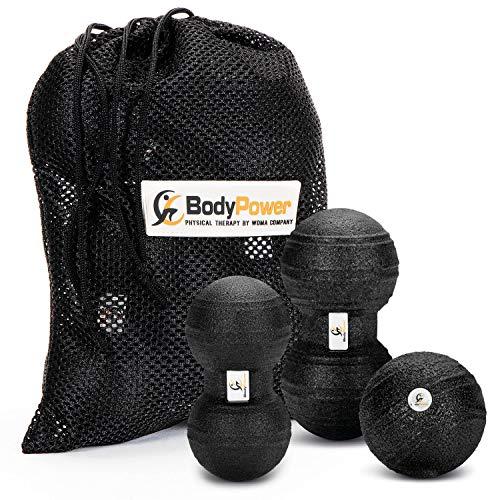 WOMA BodyPower Faszienball Set - 2 x Peanut Ball/Faszienrolle Duo Ball + 1 x Mini Faszienball - Massage & Faszien Set für Mehr Entspannung & gegen Schmerzen - Massageball Set Schwarz