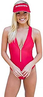 LIFEGUARD Officially Licensed Junior Size Ladies One-Piece Zipper Swimsuit, Gold Zipper