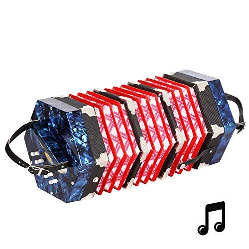 Lesgos 20 Knopfakkordeons Akkordeon, Tragbares Professionelles Konzertina Instrument mit...