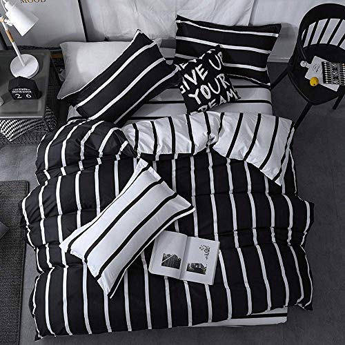 HXPH Double Duvet Covers Set Reversible Printed Duvet Cover Set - Black White Strip Pattern Design - 4 Pieces Quilt100% Cotton Duvet Set