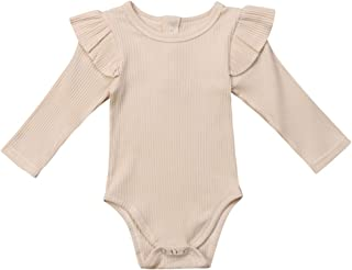 Infant Baby Toddler Girls Boys Ruffle Romper Bodysuit Striped Long Sleeve Cotton Jumpsuit Basic Clothes