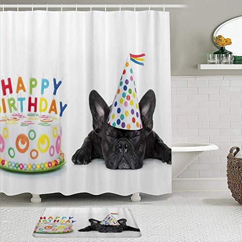 JUHAN Shower Curtain Sets with Non-Slip Rugs,Unique Sleepy French Bulldog Party Cake with Candles Cone Hat Celebration Image,Waterproof Bath Curtains Hooks Bath Mat Rug Included