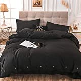 NANKO King Duvet Cover Set Black 3pc 104x90 Luxury Microfiber Down Comforter Quilt Bedding Cover with Deco Buttons Zip Closure Ties - Modern Style for Men and Women Chambray Teen