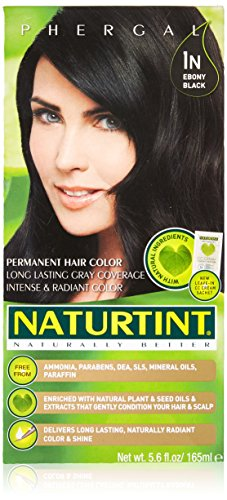 Naturtint Permanent Hair Color 1N Ebony Black (Pack of 1), Ammonia Free, Vegan, Cruelty Free, up to 100% Gray Coverage, Long Lasting Results (packaging may vary)