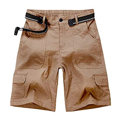 Aiegernle Women's Outdoor Hiking Shorts, Lightweight Quick Dry Casual Hiking Cargo Shorts with Multi Pockets, Khaki#133, 32(Tag 14)