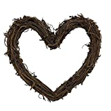 queenland Natural Grapevine Wreath Heart Shape Rustic DIY Wreath Crafts Base for Christmas Wreath Door Garland Wedding Party Home Decoration Hanging Wreath 6 inches