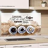 GRAZDesign Spritzschutz Küche Herd, Kaffee Motiv in braun - beige mit Tassen, Küchenrückwand aus Echtglas / 80x50cm