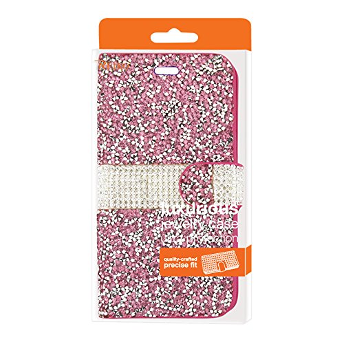 Reiko Wireless Jewelry Rhinestone Wallet Case for iPhone Se/5/5S - Pink